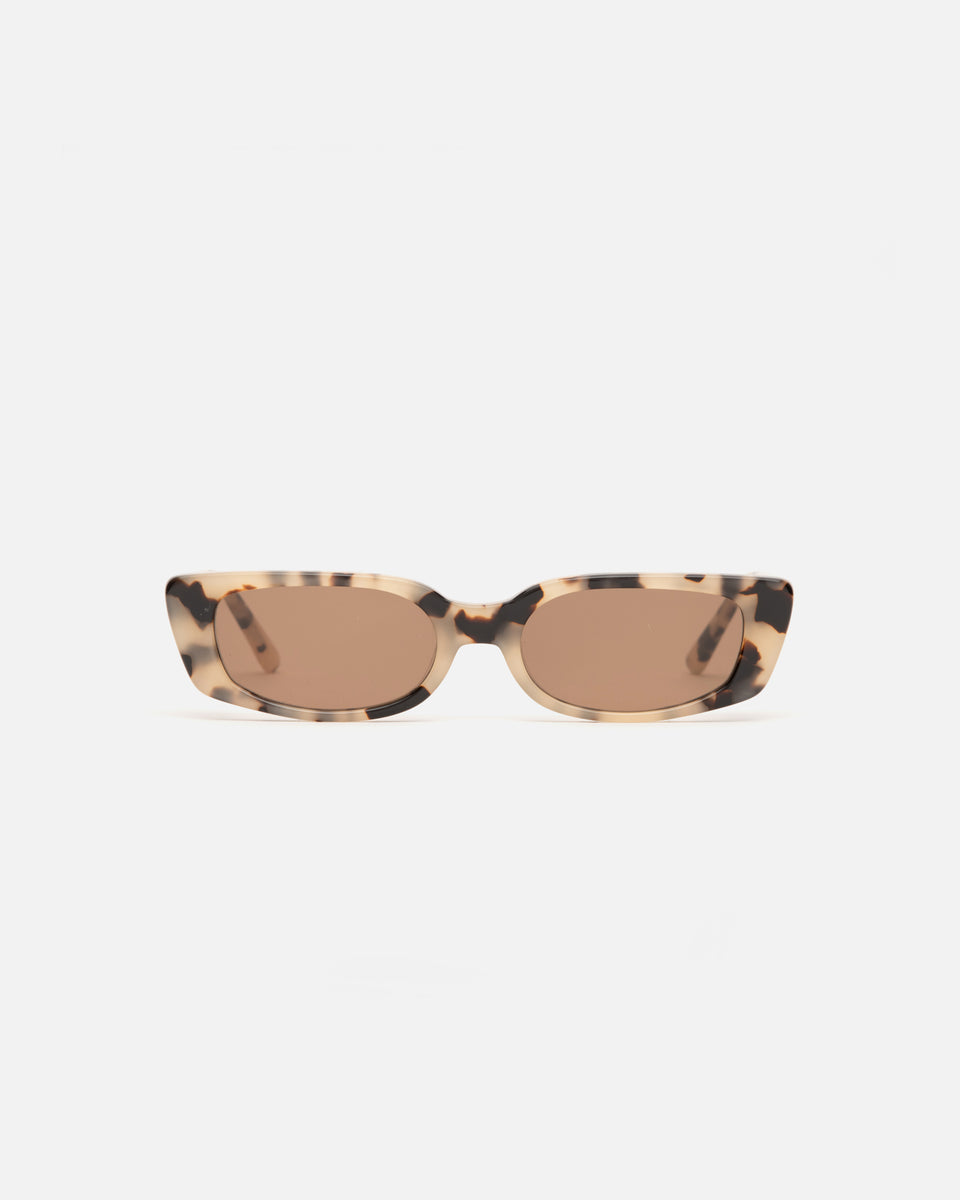 Lu Goldie Sabine Sunglasses in Brown Tortoise shell acetate with brown lenses, front image