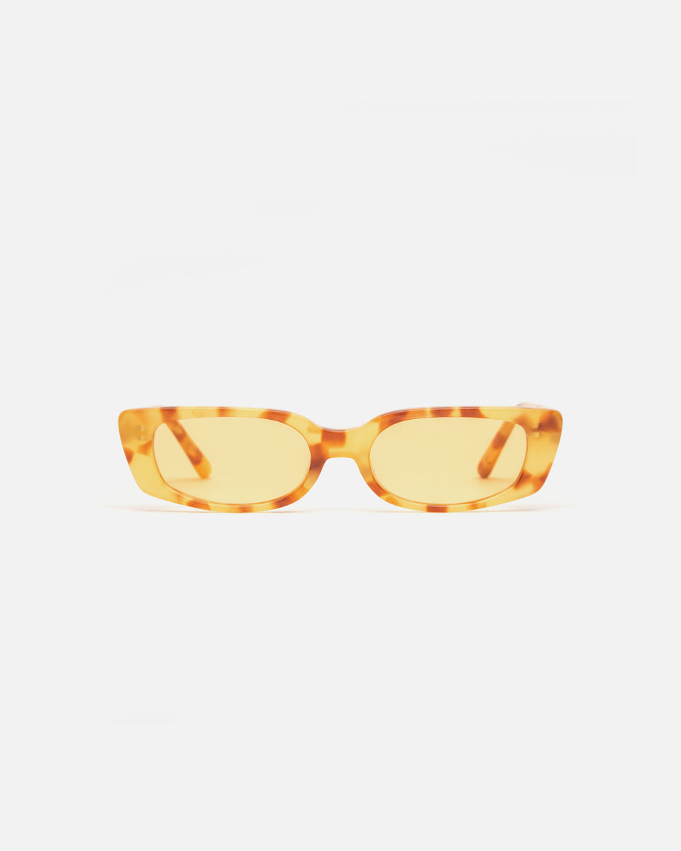Lu Goldie Sabine Sunglasses in yellow tortoise acetate with yellow lenses, front image