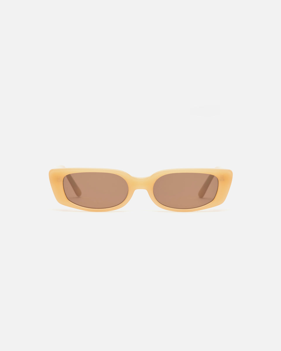 Lu Goldie Sabine Sunglasses in yellow acetate with brown lenses, front image