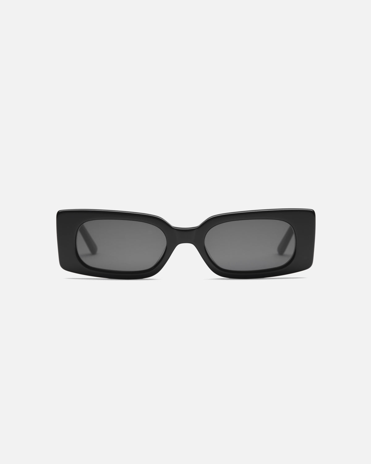 Lu Goldie Salome rectangle Sunglasses in black acetate with black lenses, front