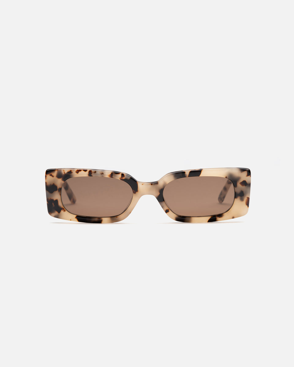 Lu Goldie Salome rectangle Sunglasses in choc tortoise shell acetate with brown lenses, front