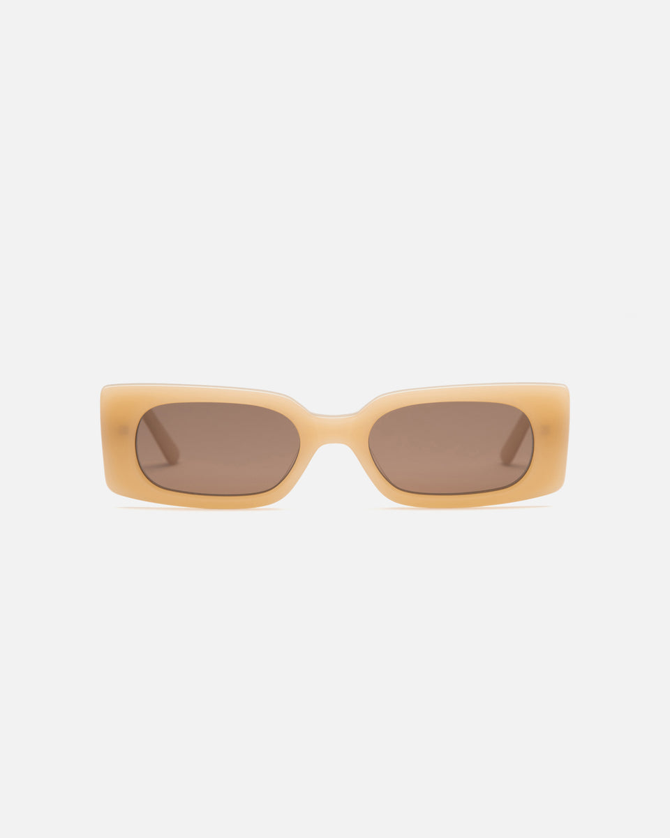 Lu Goldie Salome rectangle Sunglasses in yellow acetate with brown lenses, front