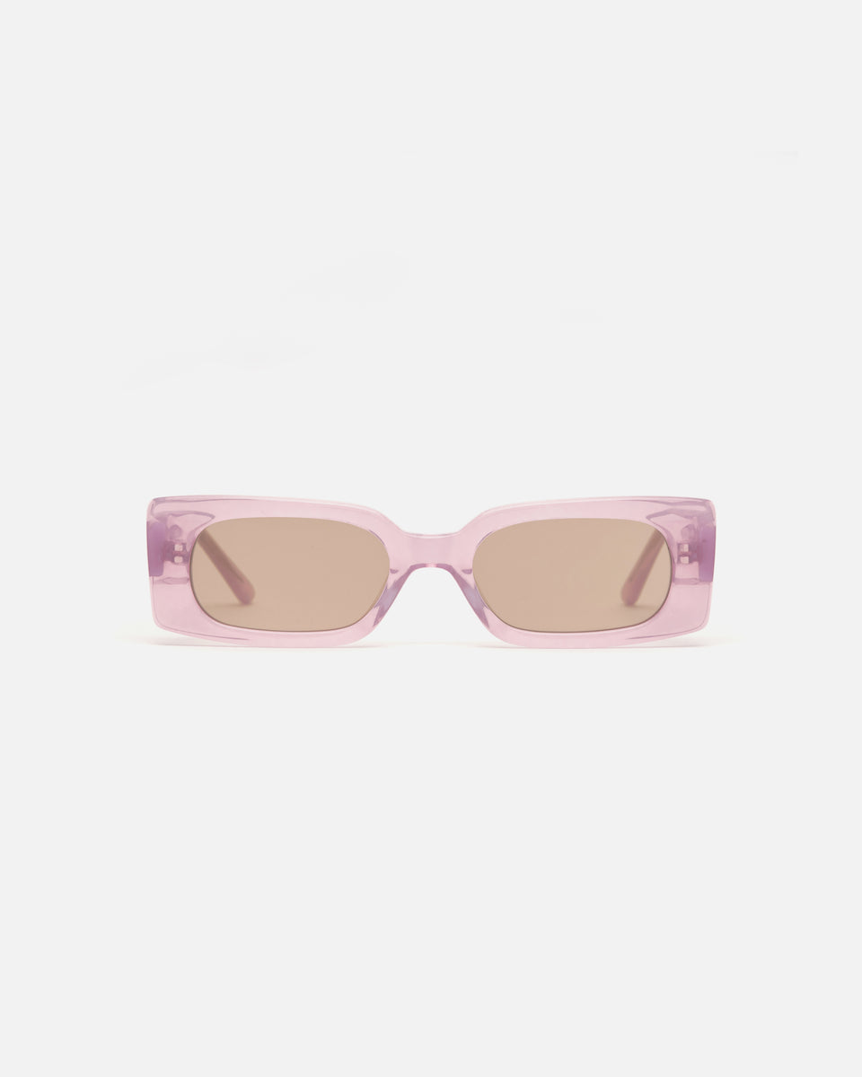 Lu Goldie Salome rectangle Sunglasses in lilac purple acetate with tan brown lenses, front image