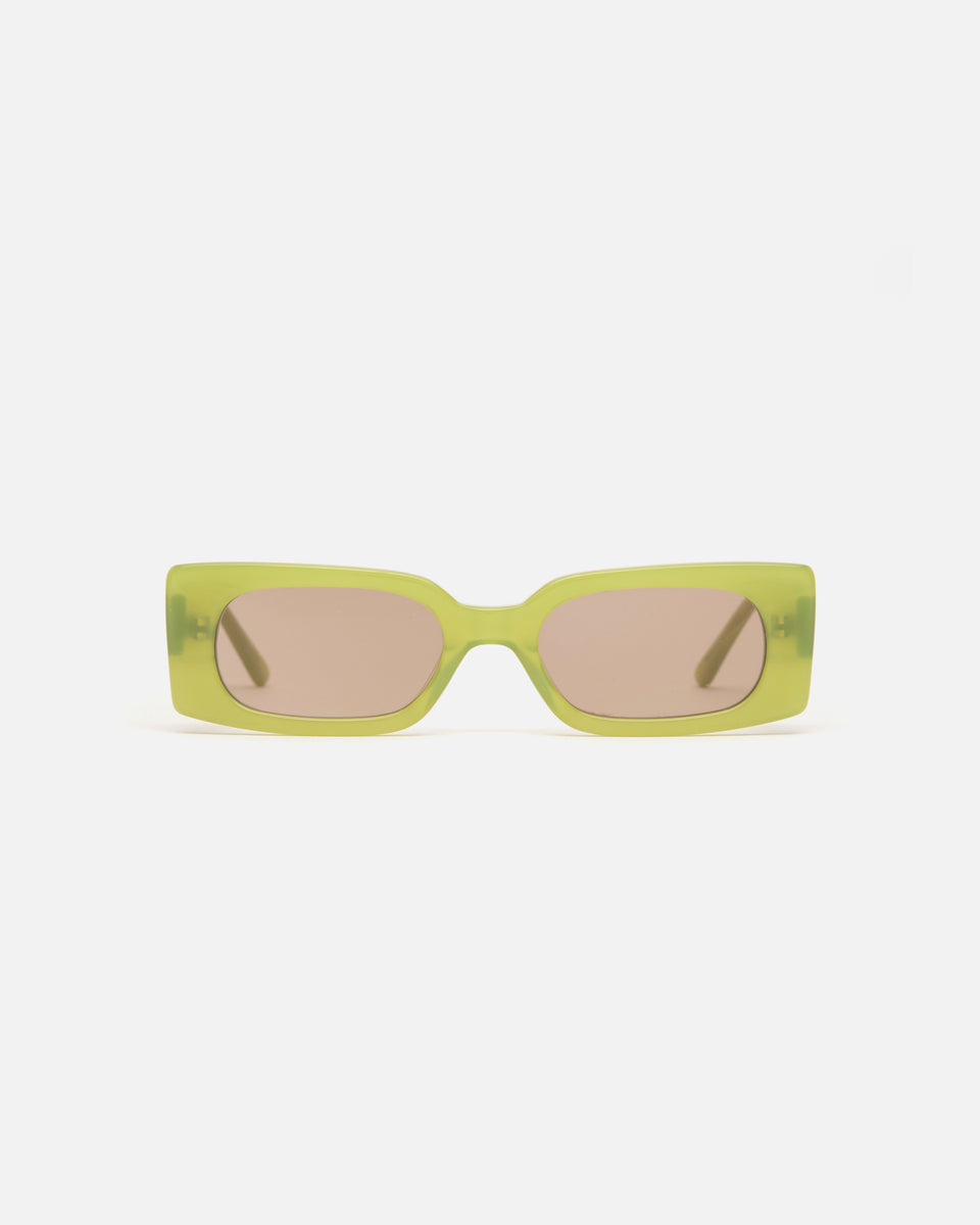 Lu Goldie Salome rectangle Sunglasses in green acetate with tan brown lenses, front image
