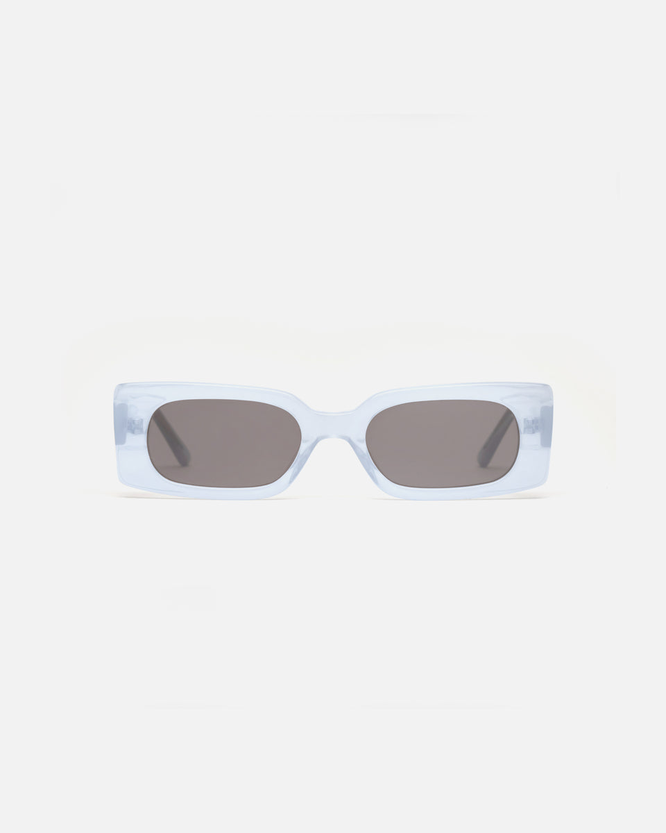 Lu Goldie Salome rectangle Sunglasses in light blue acetate with black lenses, front