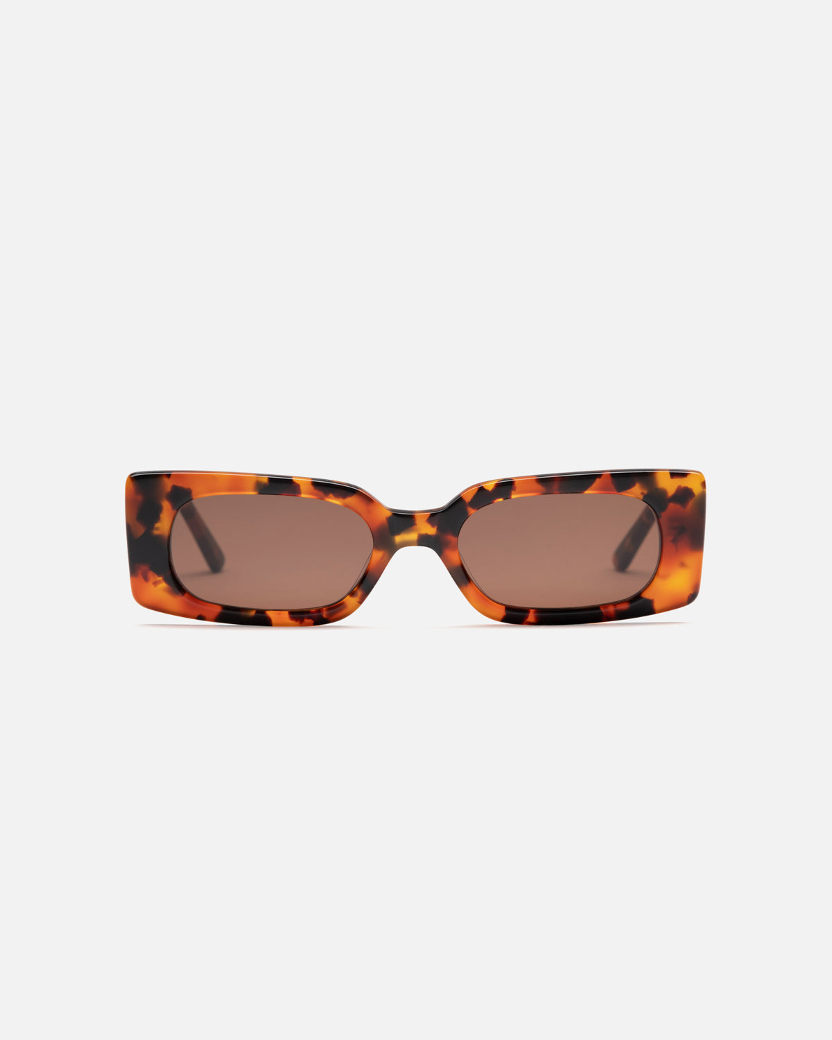 Lu Goldie Salome rectangle Sunglasses in tortoise shell acetate with brown lenses, front