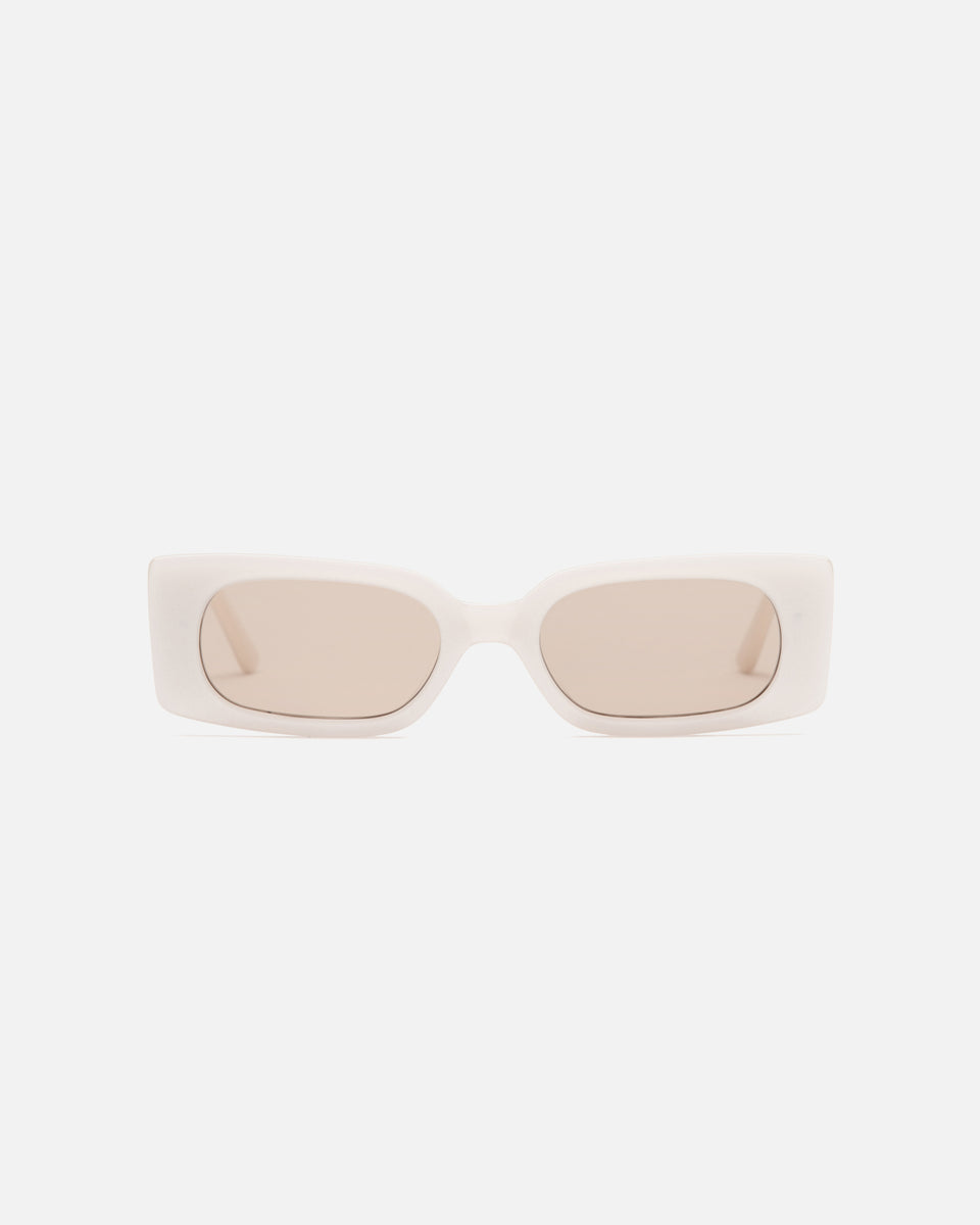 Lu Goldie Salome rectangle Sunglasses in white cream acetate with tan brown lenses, front