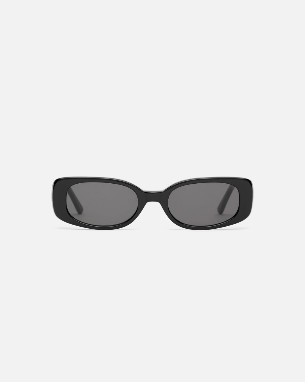 Lu Goldie Solene rectangle Sunglasses in black acetate with black lenses, front