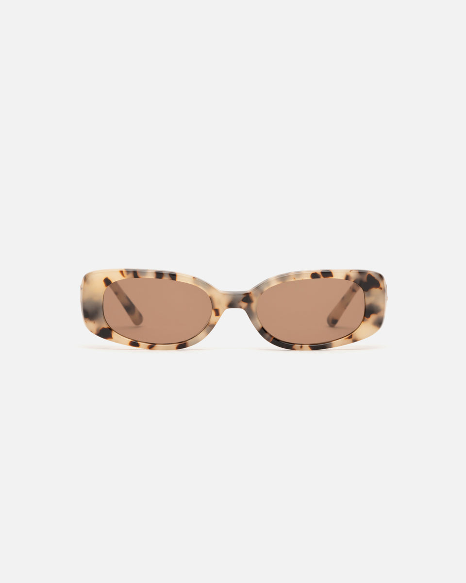 Lu Goldie Solene rectangle Sunglasses in tortoise shell acetate with brown lenses, front