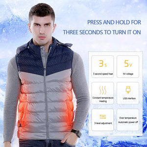 Smart USB Hooded Heating Vest, Camping, Outdoorsy