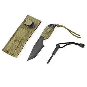 Survivor Camping Tanto Knife with Fire Starter - Outdoorsy