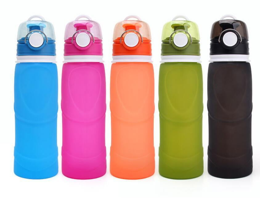 750ML Collapsible Silicone Water Bottles, Camping, Outdoorsy