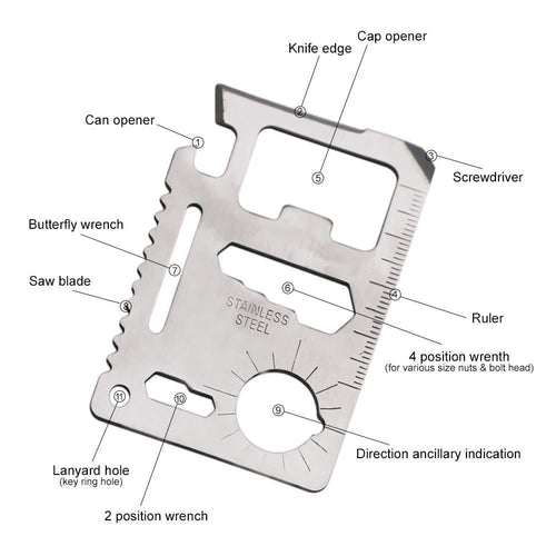 11 in 1 Stainless Steel Credit Card Multi-Tool, Survival, Outdoorsy, Outdoorsy