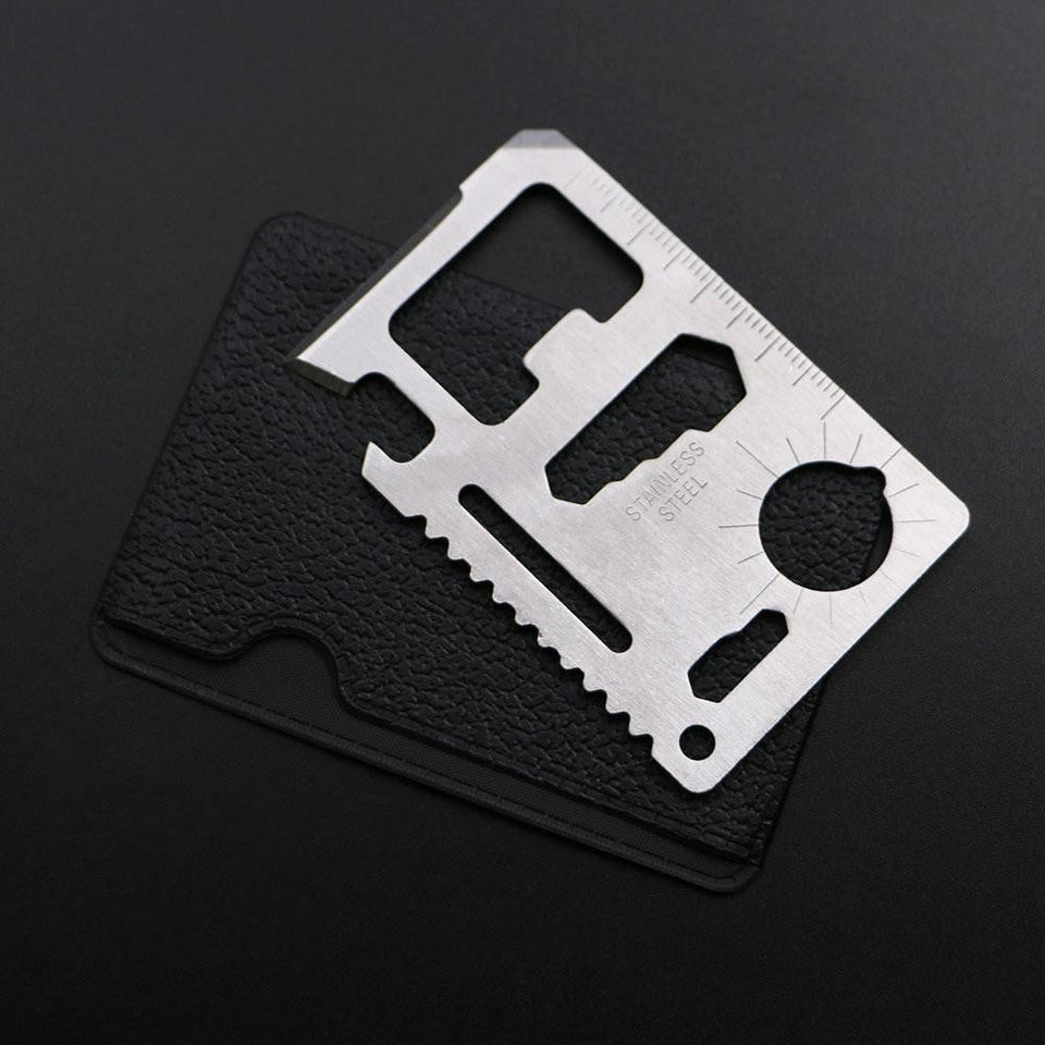 11 in 1 Stainless Steel Credit Card Multi-Tool, Survival, Outdoorsy