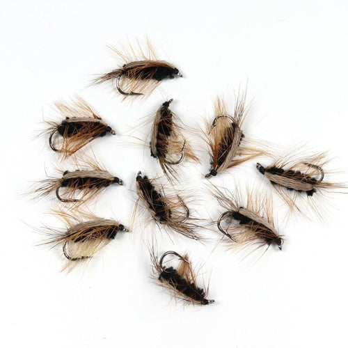 10pcs Black Body Woolly Worm Flies, Fishing, Outdoorsy, Outdoorsy