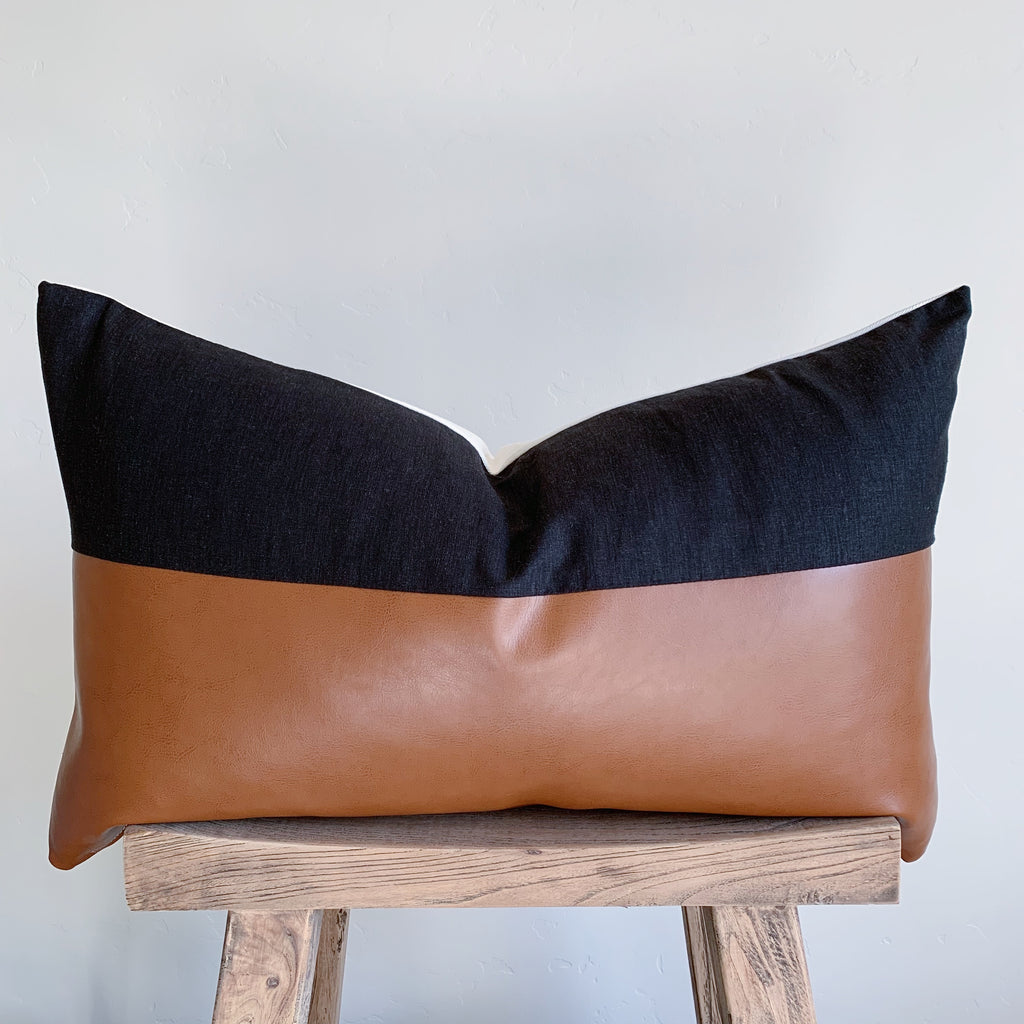 RYAN: Black Linen & Faux Leather Lumbar