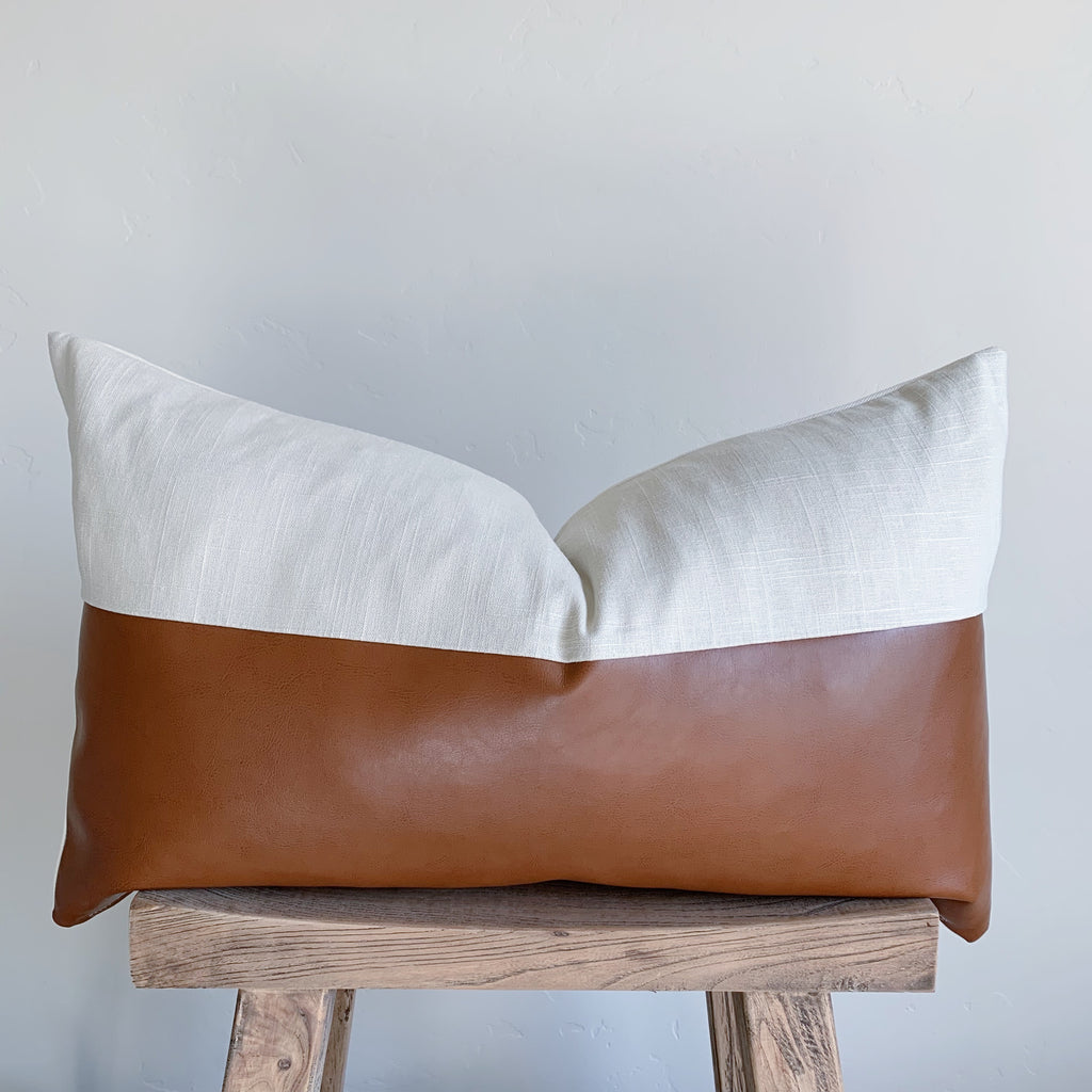 RYAN: Natural Linen & Faux Leather Lumbar