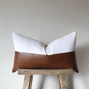 RYAN: White Linen & Faux Leather Lumbar