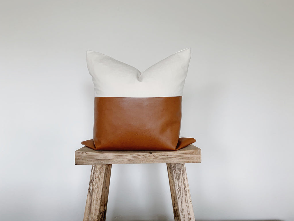RYAN: Natural Linen & Faux Leather 20x20