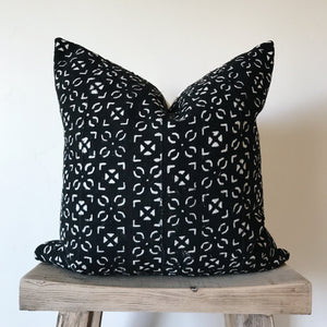 African Mud Cloth: Vintage Black & Cream 20x20
