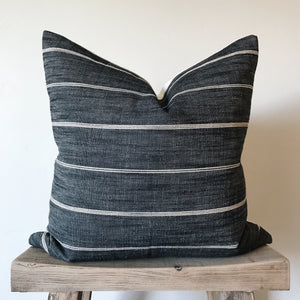 REILLY: Charcoal & Cream Stripe Linen 20x20