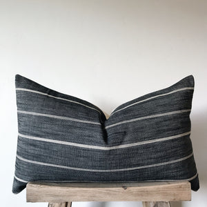 REILLY: Charcoal & Cream Stripe Linen 16x26