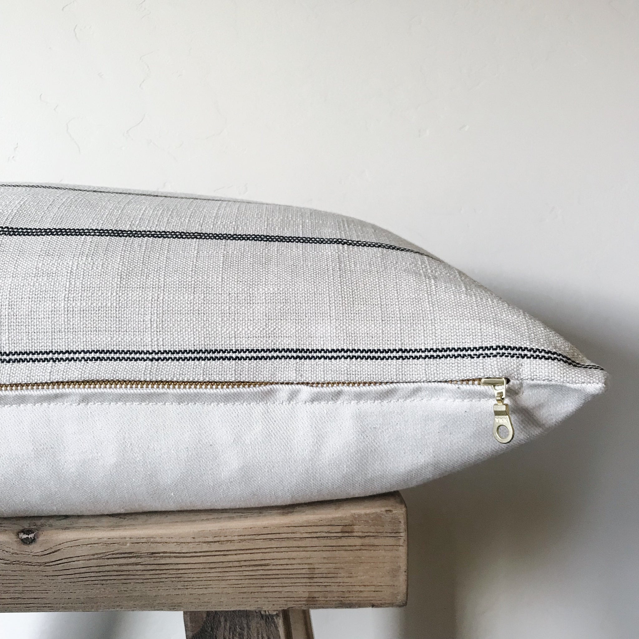 REILLY: Cream & Black Stripe Linen 16x26