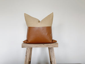 GOLDEN: Camel Linen & Faux Leather 20x20