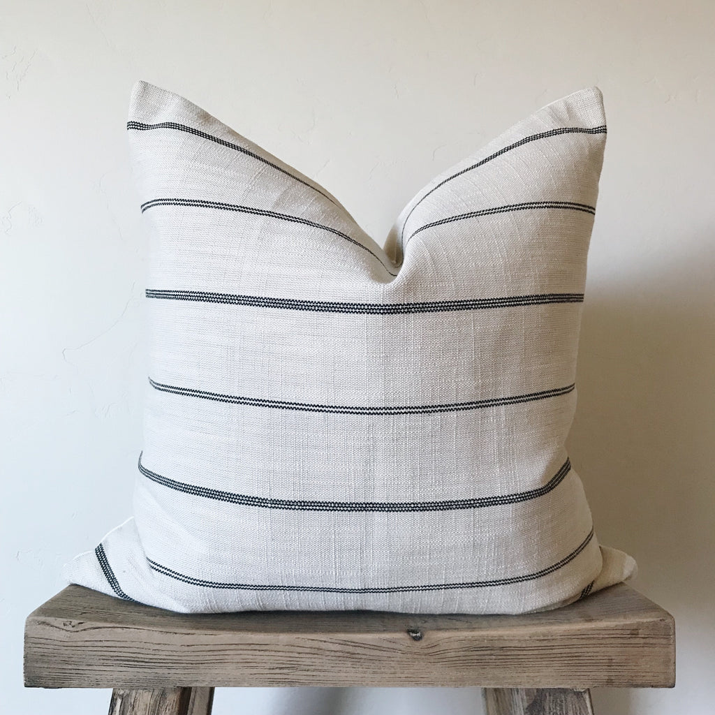 REILLY: Cream & Black Stripe Linen 20x20