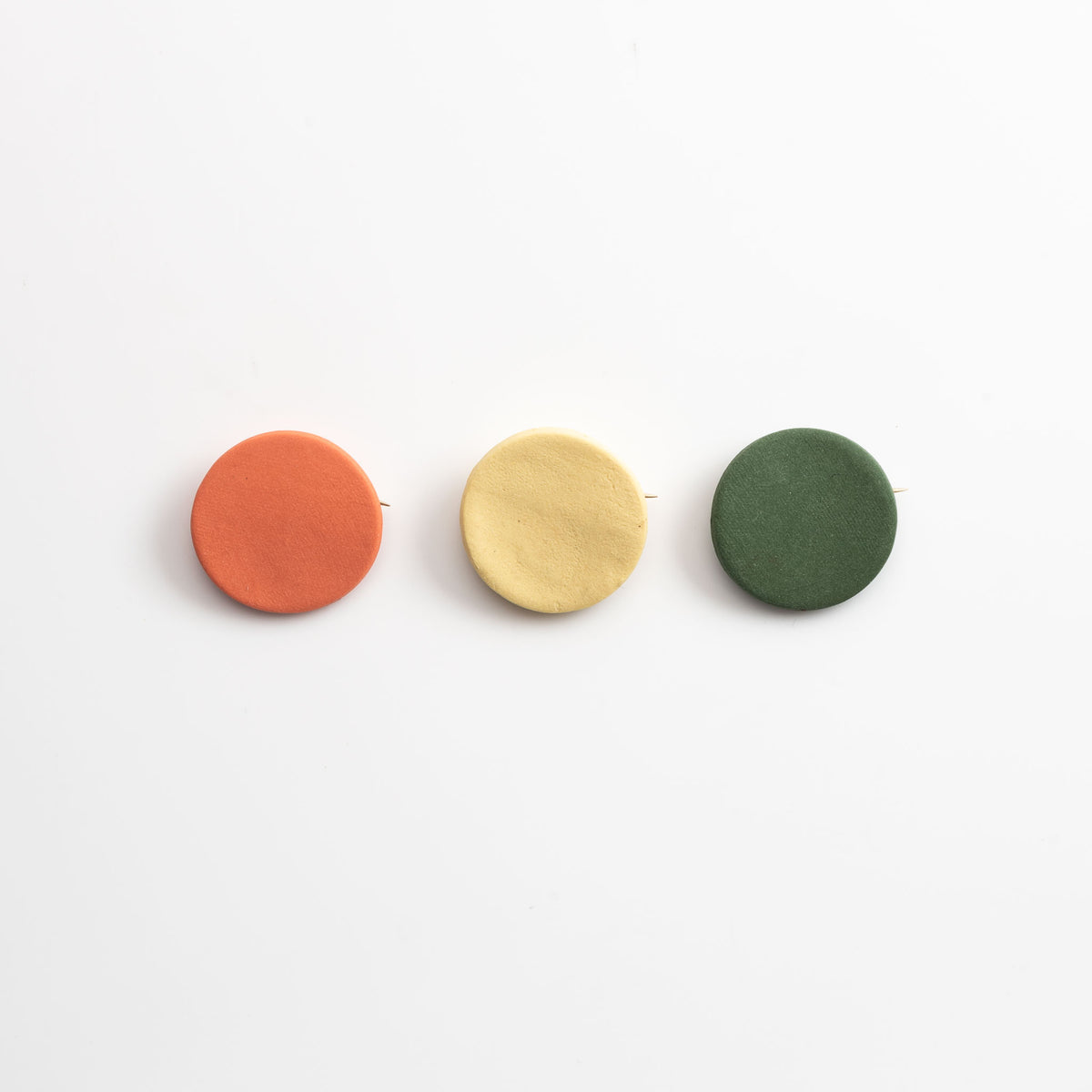 COVID 19 PINS set of 3 orange, yellow and dark green