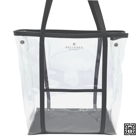 "Stadium approved clear shopper tote with black 9"" drop shoulder handles and outside pocket. 100% vegan bag"