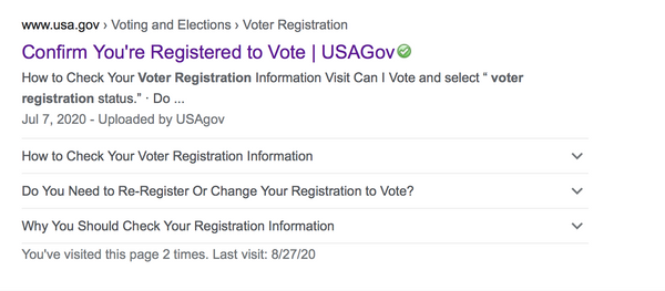 Link to USA.gov's Confirm You're Registered to Vote