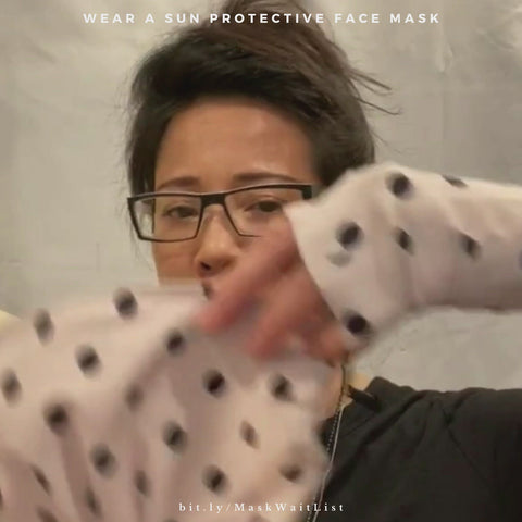 Video showing UPF 50+ sun protective face mask unique style with three pleats in ballet pink polka dot print
