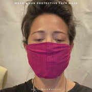 Video showing UPF 50+ sun protective face mask unique style with three pleats in raspberry check print