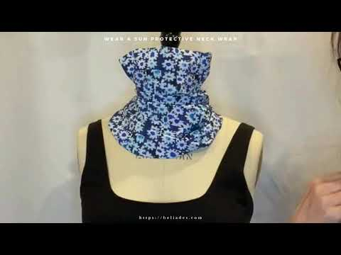 Video of UPF 50+ Sun Protective Neck Wrap in Blue Daisy Block print