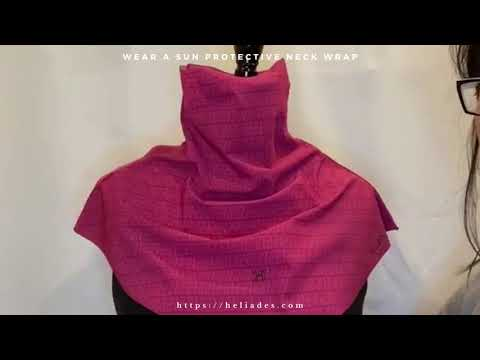 Video of UPF 50+ Sun Protective Neck Wrap in Raspberry Check print https://heliades.com