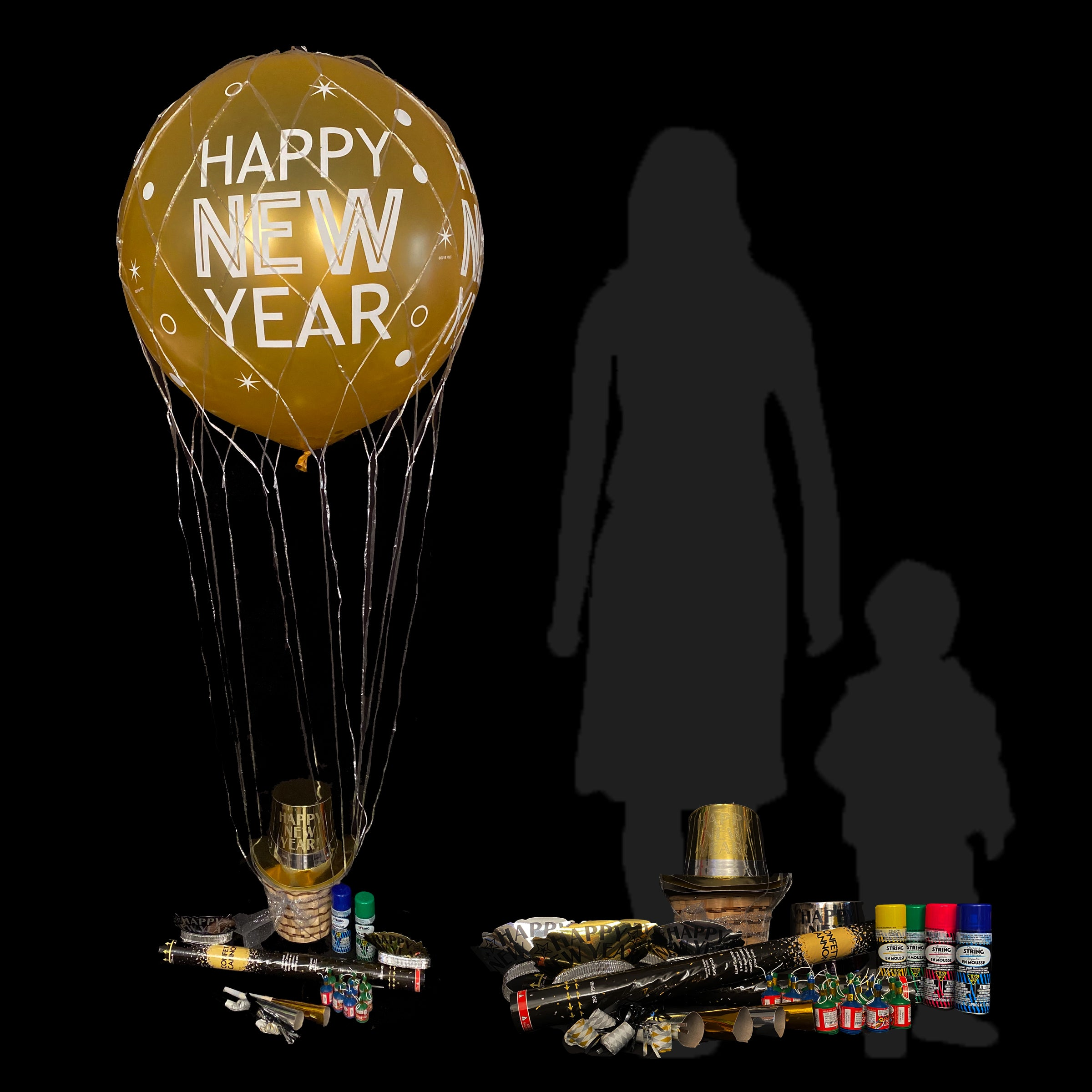 Complete New Year party kit with confetti filled 3' balloon