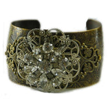 Etched brass cuff with vintage embellishments