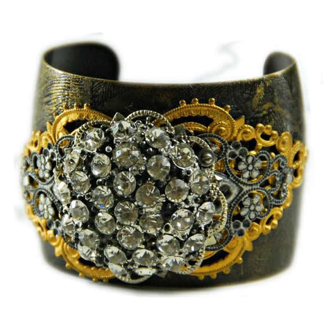 Etched cuff bracelet with vintage embellishments