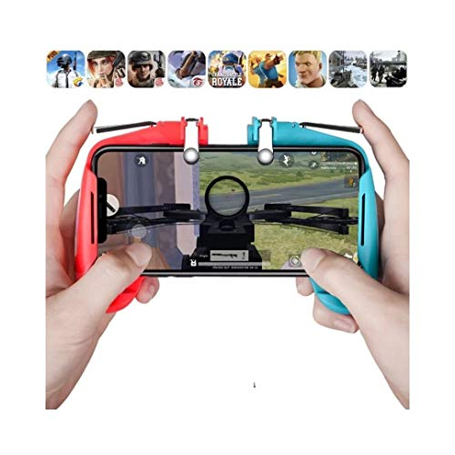 Gizget PUBG Trigger Controller, Upgraded Version of Gaming Console for Sensitive Shoot and Aim Keys L1R1 / Joystick Controller for Mobile/Joystick for Android iOS (Red & Blue)