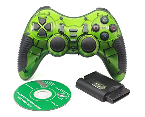 Protokart 6 in 1 2.4G Wireless Game Controller Gamepad Gaming Joystick with Vibration for PC Laptop Gaming Consoles, for PS1, PS2, PS3, PC360, TV Box etc (Green)