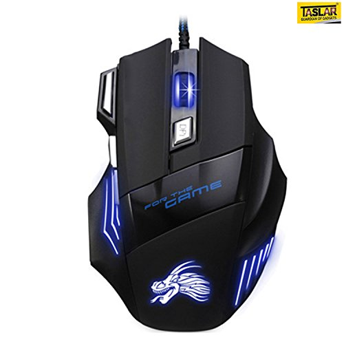 Taslar 5500 DPI 7 Button LED Optical USB Wired Gaming Mouse 7 LED Colours for Pro Gamer - Black