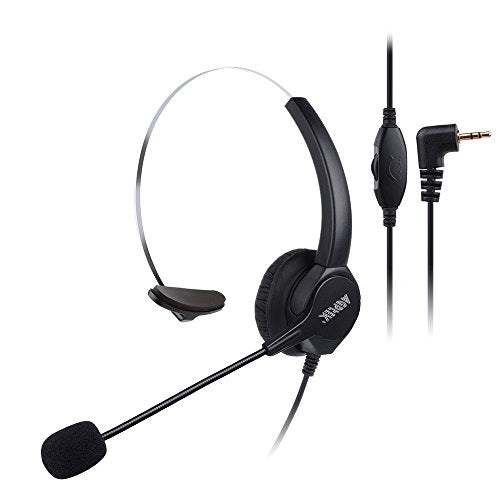 AGPTEK Monaural 2.5Mm Jack Headset for Desk Phones, 6Ft Hands-Free Noise Cancelling Headphones with Mic, Microphone, Comfort Fit Headband Panasonic Most Cordless Phones