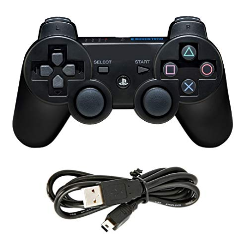 PinGlo Wireless Controller for PS3 Controller (Black) with Charging Cable (Model PS3-012