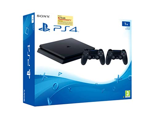Sony PS4 1TB Slim Console with Additonal Dualshock Controller (Black)