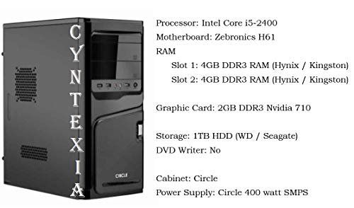 Cyntexia Computer Desktop Pc Home Intel Core i5-2400/8GB DDR3 RAM/1TB HDD/2GB DDR3 Nvidia 710 Graphic Card/Operating System & Basic Software Installed/Plug and Start