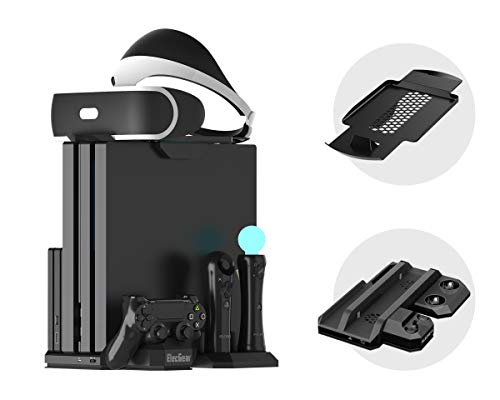 Microware Charger & Vertical Display Stand - Cooling Fan, PSVR Glasses Holder Bracket for PlayStation PS VR Headset, PS4, Pro, Slim Console, DualShock 4 & Move Motion Controller TP4-888