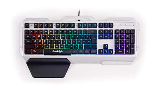 Cosmic Byte CB-GK-06 Galactic Wired Gaming Keyboard with Aluminium Body, 7 Color RGB Backlit with Effects, Anti-Ghosting (Black/Silver)