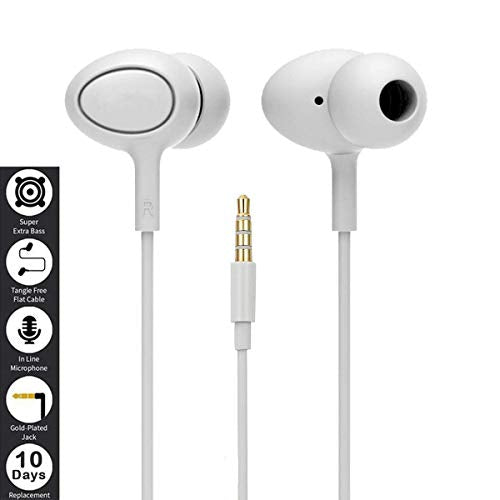 Asus Zenfone Max Pro (M1) Earphones in-Ear Heaphones with Mic Headset Handsfree Lead Stereo Bass Boost Dolby Sound Earphones with Music Calling 3.5mm Jack SuperExtra Wired