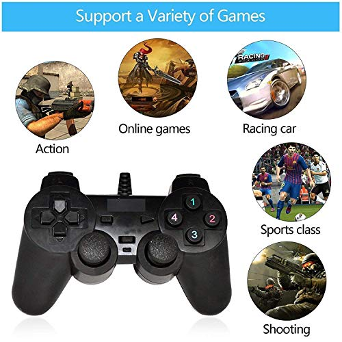 Sky Tech® USB 2.0 Gamepad Single Vibration Dual Joystick Gamepad Wired Game Controller For Laptop PC (Black)